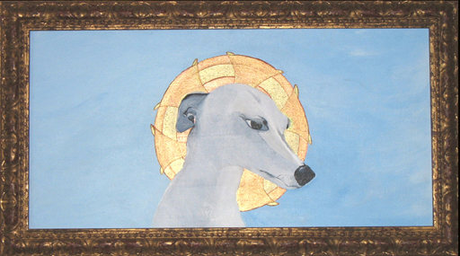 """Saint Whippet of the Right Acrylic on Canvas 14 x 24"""""""