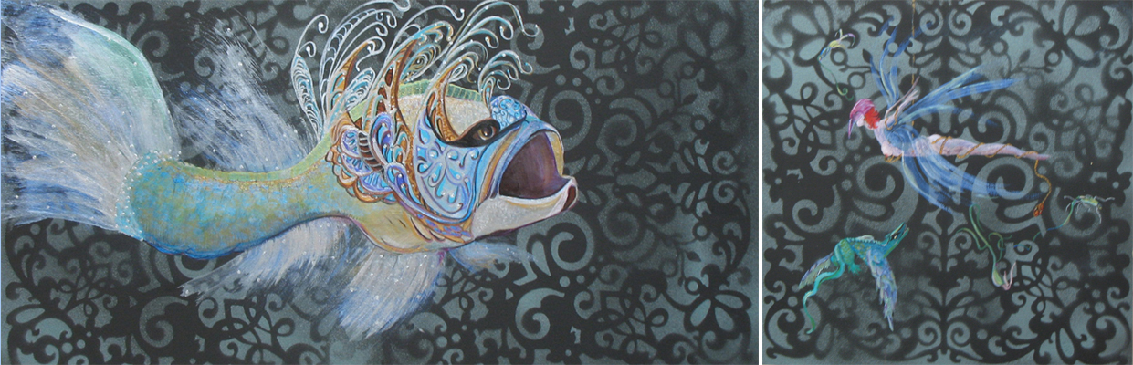 """The Bait Diptych Acrylic on Wood Panel 12 x 24"""" and 12 x 12"""""""