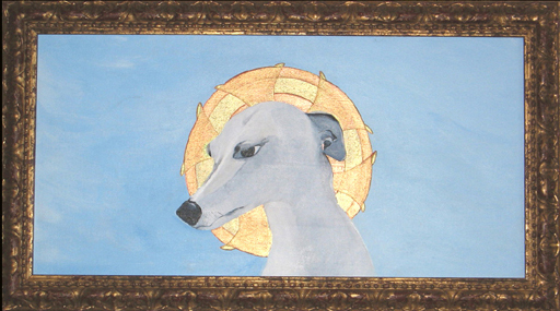 Saint Whippet of the Right Acrylic on Canvas 14 x 24""